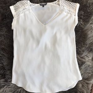 Express Silky Lace Sleeve Top